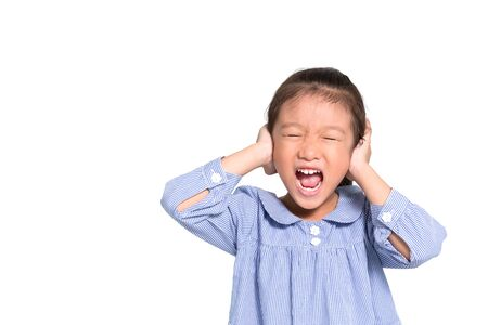 frustrate: Little asian girl angry and put hand closing her ears isolate on white background