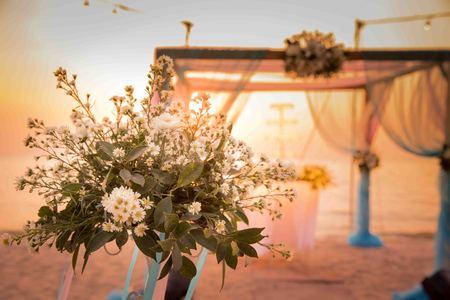 wedding love: Beautiful wedding arch on the beach Stock Photo