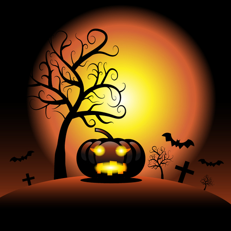 Halloween pumpkin spooky with spider web and dark tree background, Vector illustrator