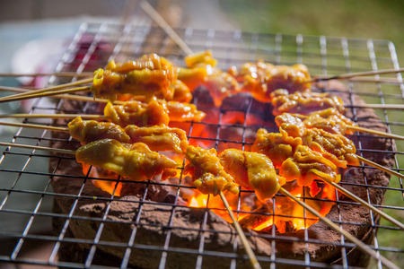 pork or chicken satay grill on charcoal stove