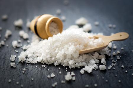 Salt on the black stone
