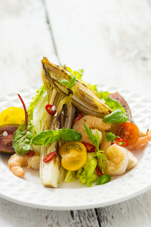 dietetics: Salad with shrimp and grilled vegetables Stock Photo