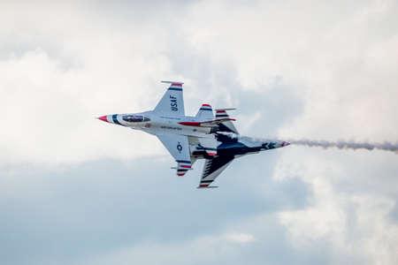united states air force: San Antonio, Texas - October, 31: United States Air Force F-16 Thunderbirds Fly By Editorial