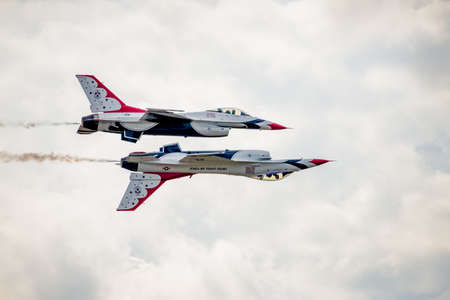 San Antonio, Texas - October, 31: United States Air Force F-16 Thunderbirds flying in reflection formation