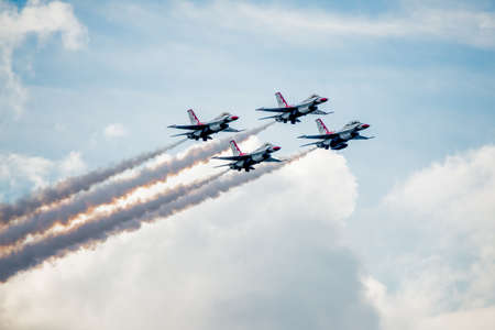 united states air force: San Antonio, Texas - October, 31: United States Air Force F-16 Thunderbirds approaching in Diamond Formation