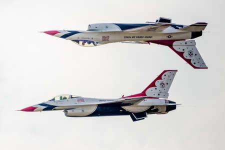 united states air force: San Antonio, Texas - October, 31: United States Air Force F-16 Thunderbirds flying in calypso formation Editorial