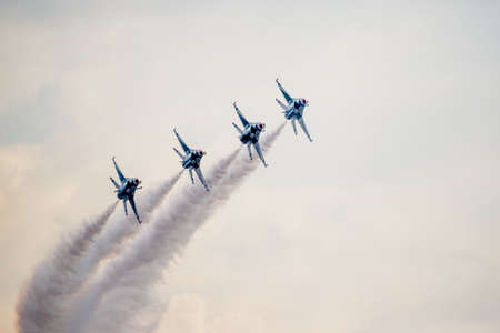 united states air force: San Antonio, Texas - October, 31: United States Air Force F-16 Thunderbirds taking in formation