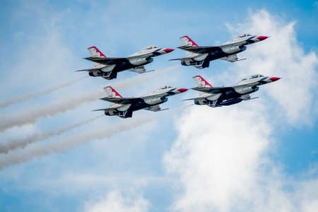 united states air force: San Antonio, Texas - October, 31: United States Air Force F-16 Thunderbirds in Diamond Formation