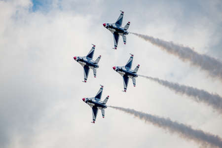 San Antonio, Texas - October, 31: United States Air Force F-16 Thunderbirds turning in Diamond formation