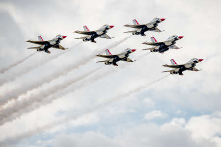 united states air force: San Antonio, Texas - October, 31: United States Air Force F-16 Thunderbirds flying in formation