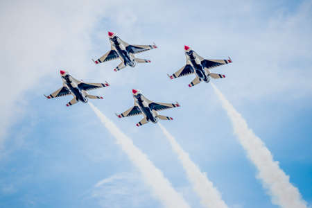 united states air force: San Antonio, Texas - October, 31: United States Air Force F-16 Thunderbirds flying in diamond formation
