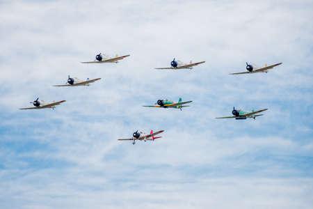 tora: SAN ANTONIO, USA - October 31, 2015: Tora Tora Tora demonstration of japanese war planes at airshow
