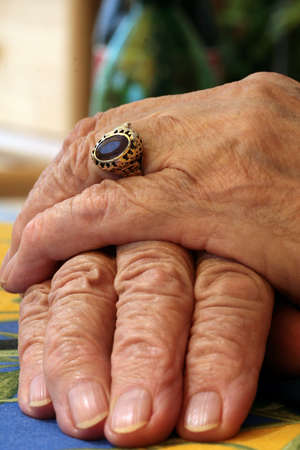 bereavement: Old Hands Stock Photo