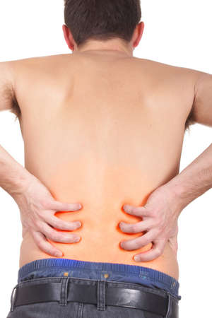 boy underwear: A young man holds back with both hands in pain. The pressure points are colored to symbolize the pain. Isolated over white.