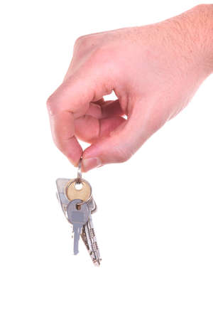 A hand is giving someone a bunch of keys. Isolated over white. Stock Photo - 4250851