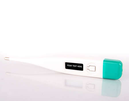 digital thermometer: A digital thermometer - with copyspace in the display - isolated over gradient white. Stock Photo