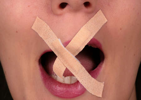 constrain: Breaking The Silence - Censored woman with tape on the mouth is trying to rip it!