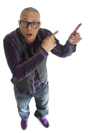 fingers on top: Young asian nerd styled model looking funny over white background.