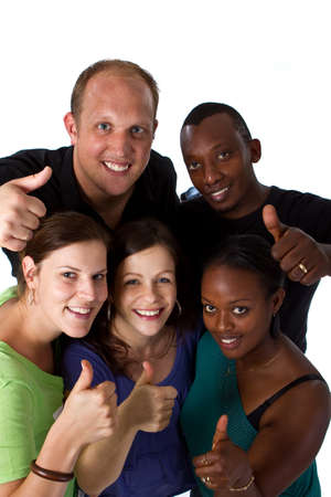 Young fresh multiracial group