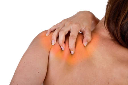 Woman with pain in her neck and shoulder, Isolated medical shot over white background. Stock Photo - 7112688
