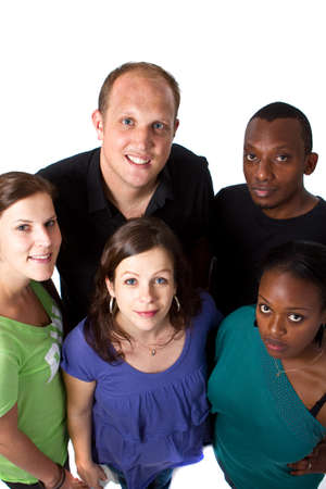 Fresh young group ofmultiracial people isolated over white. Stock Photo - 7188788