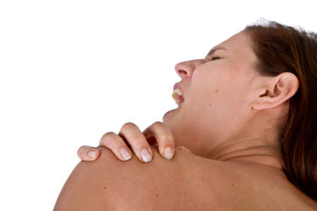 Woman with pain in her neck and shoulder, Isolated medical shot over white background. Stock Photo - 7188768