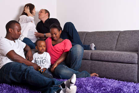 Interracial friends and family photo