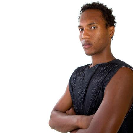 modelos hombres: Joven adolescente negro aislado sobre un fondo blanco.  Foto de archivo
