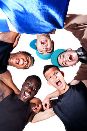Young group of five teenagers isolated over white. Fresh young men with stylish athletivc outfit. Stock Photo - 7279816