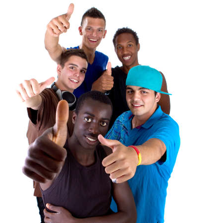 Young fresh interracial group of teenagers showing thumbs up sign as a sign of success. Isolated over white background. photo