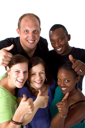 Young fresh multiracial group photo