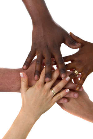 Multiracial hands together photo