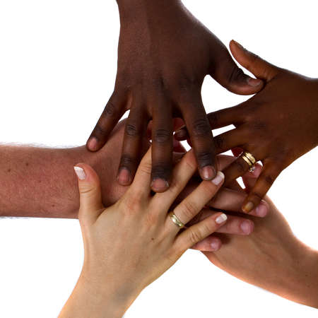 hand grip: Multiracial hands together