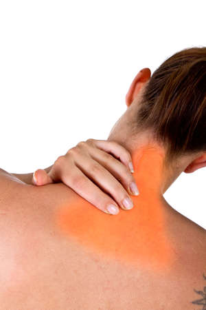 aching muscles: Woman with pain in her neck and shoulder, Isolated medical shot over white background.