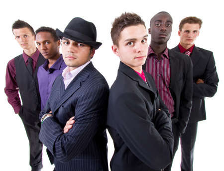 Young group of businessmen isolated over white background. Trendy multiracial group. photo