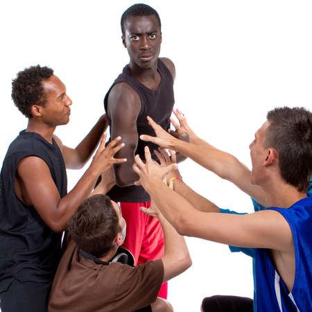 Young group of five teenagers isolated over white. Fresh young men with stylish athletivc outfit. Stock Photo - 7451731