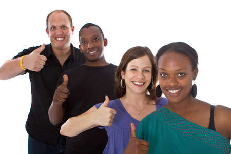 Young fresh multiracial group giving thumbs up sign and are really happy. photo