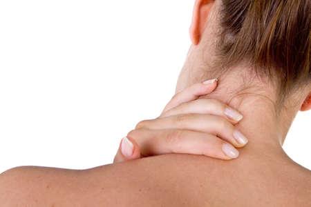 neck�: Mujer con dolor en su cuello y hombro, aislada disparo m�dica sobre fondo blanco.