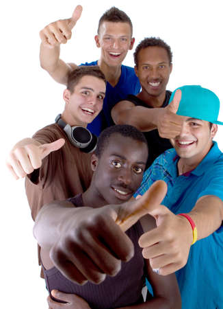 Young fresh interracial group of teenagers showing thumbs up sign as a sign of success. Isolated over white background. Stock Photo - 7566325