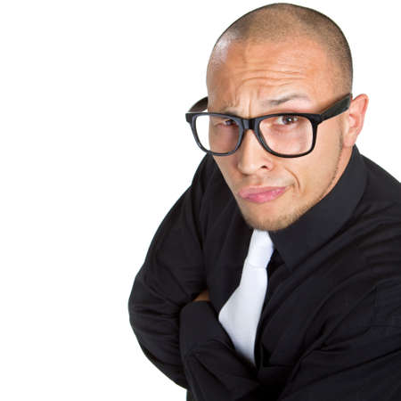 goofy: Young nerdy businessman isolated over white background. Fresh young male asian model. Stock Photo