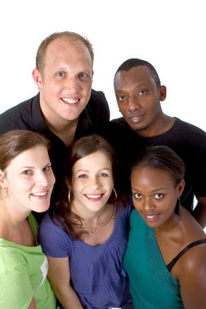 Fresh young group ofmultiracial people isolated over white. Stock Photo