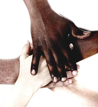 medium group: Multiracial hands together