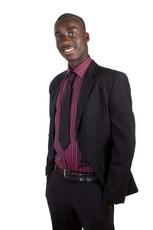 Young black businessman over white background. Isolated fresh teenager in suit. Stock Photo