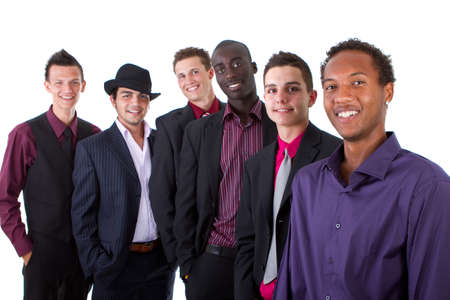 modern generation: Young group of businessmen isolated over white background. Trendy multiracial group. Stock Photo