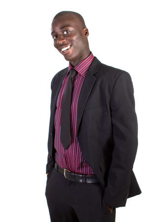 Young black businessman over white background. Isolated fresh teenager in suit. photo