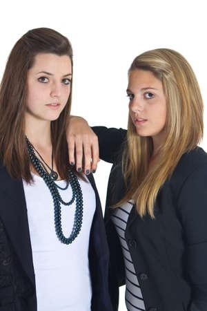 teenaged girls: Young business teenaged girls isolated over white background Stock Photo