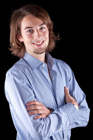 Young fresh business man with long hair - European. Stock Photo - 8271942