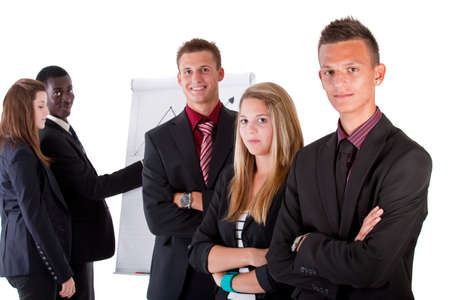 Young business people at work in an office setting. Isolated over pure white. photo