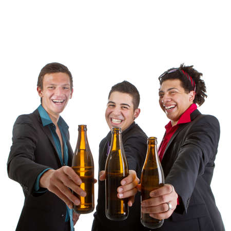 drunk man: Three young men with business outfit with beer isolated over white. Stock Photo