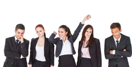 Young girl screaming happily in a group of young business people. Stock Photo - 10347158